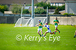 Cian McMahon of Lixnaw gets his shot away as Andrew Kerins of Tralee Parnells attempts to block his effort in the Minor hurling championship quarter final.