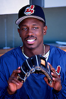 Kenny Lofton of the Cleveland Indians plays in a baseball game at Edison International Field during the 1998 season in Anaheim, California. (Larry Goren/Four Seam Images)