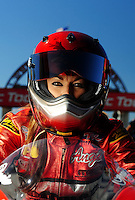 Sept. 5, 2010; Clermont, IN, USA; NHRA pro stock motorcycle rider Angie Smith during qualifying for the U.S. Nationals at O'Reilly Raceway Park at Indianapolis. Mandatory Credit: Mark J. Rebilas-