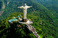 Aerial view of the Christ Redeemer and Corcovado Mountain, above the tourist crowds, in Rio de Janeiro, Brazil