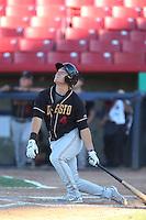 Patrick Valaika #4 of the Modesto Nuts bats against the High Desert Mavericks at Heritage Field on June 29, 2014 in Adelanto, California. High Desert defeated Modesto, 6-1. (Larry Goren/Four Seam Images)