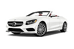 Stock pictures of low aggressive front three quarter view of 2017 Mercedes Benz S-Class S550 2 Door Convertible Low Aggressive