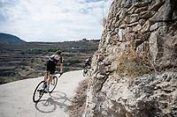 Nick Schultz (AUS/Mitchelton-Scott) rolling back towards the teambusses after the stage<br /> <br /> Stage 6: Mora de Rubielos to Ares del Maestrat (199km)<br /> La Vuelta 2019<br /> <br /> ©kramon