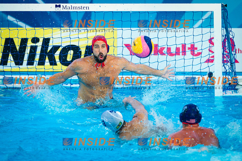 BRA-USA<br /> Brazil Vs USA<br /> MOSES Merrill USA<br /> OBERT Alex BRA<br /> ROELSE Alex USA<br /> Day 10 02/08/2015<br /> XVI FINA World Championships Aquatics<br /> Waterpolo<br /> Kazan Tatarstan RUS July 24 - Aug. 9 2015 <br /> Photo Pasquale Mesiano/Deepbluemedia/Insidefoto