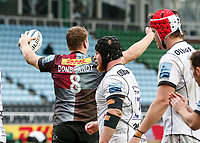 20th March 2021; Twickenham Stoop, London, England; English Premiership Rugby, Harlequins versus Gloucester; Harlequins, Gloucester; Alex Dombrandt of Harlequins celebrates his drive through try