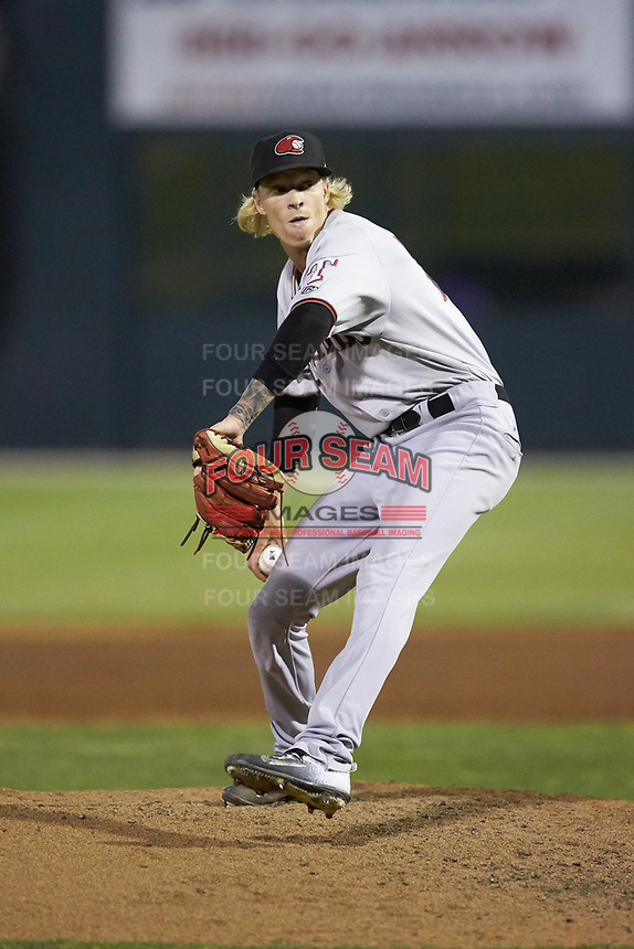 Hickory Crawdads relief pitcher Nick Snyder (25) in action against the Piedmont Boll Weevils at Kannapolis Intimidators Stadium on May 3, 2019 in Kannapolis, North Carolina. The Boll Weevils defeated the Crawdads 4-3. (Brian Westerholt/Four Seam Images)
