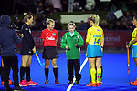 The coin toss is taken during the Sentinel Homes Trans Tasman Series hockey match between the New Zealand Black Sticks Women and the Australian Hockeyroos at Massey University Hockey Turf in Palmerston North, New Zealand on Tuesday, 1 June 2021. Photo: Dave Lintott / lintottphoto.co.nz