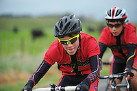 Huntley School year 7 and 8 boys in action during the NZ Schools Road Cycling championship day one team time trials at Koputaroa Road, Levin, New Zealand on Saturday, 27 September 2014. Photo: Dave Lintott / lintottphoto.co.nz