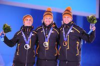 OLYMPICS: SOCHI: Medal Plaza, 11-02-2014, medaille uitreiking, 500m Men, Jan Smeekens (NED), Michel Mulder (NED), Ronald Mulder (NED), ©foto Martin de Jong