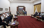 Palestinian President Mahmoud Abbas, meet with regional secretaries at his headquarter in the West Bank city of Ramallah on June 6, 2021. Photo by Thaer Ganaim