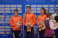 SPEEDSKATING: 22-11-2019 Tomaszów Mazowiecki (POL), ISU World Cup Arena Lodowa, Podium Team Sprint Ladies (NED), Sanneke de Neeling, Jutta Leerdam, Michelle de Jong, ©photo Martin de Jong
