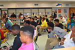 The Houston Texans Ambassadors visit the Worthing HS football team in honor of Black History Month.