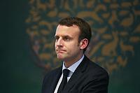 EMMANUEL MACRON, ASSEMBLEE GENERALE DE LA FEDERATION NATIONALE DES CHASSEURS A PARIS, FRANCE, LE 14/03/2017.