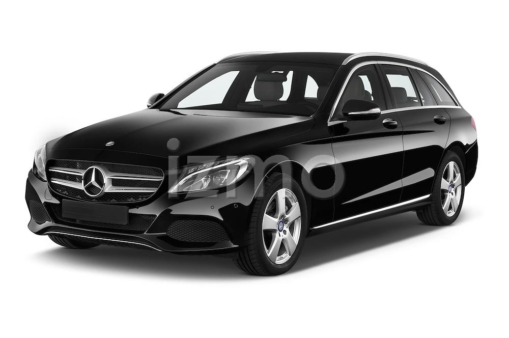 2014 Mercedes Benz C-CLASS Avantgarde 5 Door Wagon 2WD Angular Front stock photos of front three quarter view