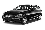 2014 Mercedes Benz C-CLASS Avantgarde 5 Door Wagon 2WD Angular Front stock photos of front three quarter view