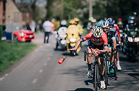 Vincenzo Nibali (ITA/Bahrain-Merida) swithching/ditching his last bidon in the last local lap<br /> <br /> 82nd Flèche Wallonne 2018 (1.UWT)<br /> 1 Day Race: Seraing - Huy (198km)