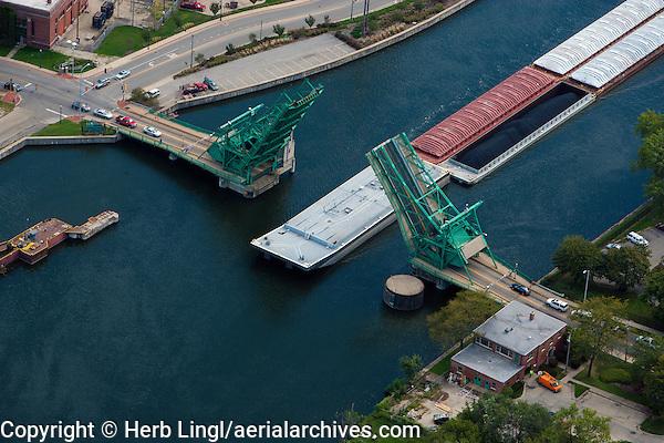 aerial photograph barge passing under draw bridge Joliet, Illinois