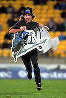 A fan competes in a halftime promotion during the Super Rugby match between the Hurricanes and Blues at Westpac Stadium, Wellington, New Zealand on Saturday, 2 July 2016. Photo: Dave Lintott / lintottphoto.co.nz