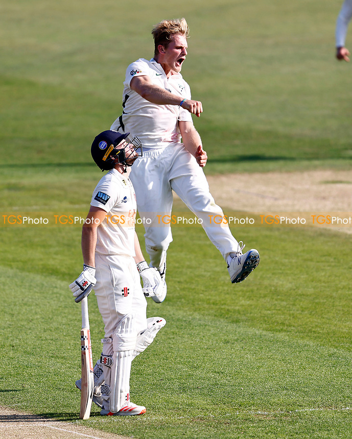 Dillon Pennington of Worcestershire celebrates taking the wicket of Ollie Robinson during Kent CCC vs Worcestershire CCC, LV Insurance County Championship Division 3 Cricket at The Spitfire Ground on 5th September 2021