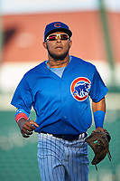 AZL Cubs 1 second baseman Oswaldo Pina (60) jogs off the field between innings of an Arizona League game against the AZL Padres 1 on July 5, 2019 at Sloan Park in Mesa, Arizona. The AZL Cubs 1 defeated the AZL Padres 1 9-3. (Zachary Lucy/Four Seam Images)