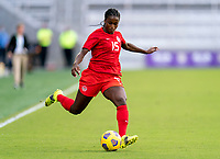ORLANDO, FL - FEBRUARY 24: Nichelle Prince #15 of Canada crosses the ball during a game between Brazil and Canada at Exploria Stadium on February 24, 2021 in Orlando, Florida.