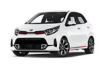 Stock pictures of low aggressive front three quarter view of 2020 KIA Picanto GT-Line 5 Door Hatchback Low Aggressive