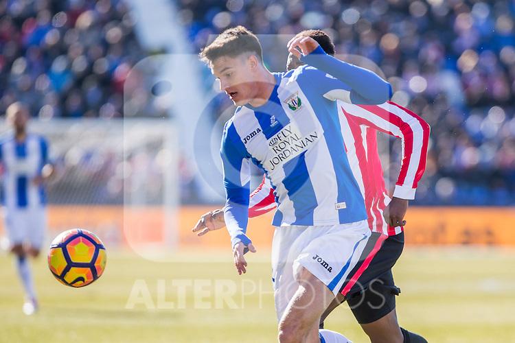 Club Deportivo Leganes's Adrian Marin, Atletic de Bilbao's Inaki Williams during the match of La Liga between Leganes and Athletic Club at Butarque Stadium  in Madrid , Spain. January  14, 2017. (ALTERPHOTOS/Rodrigo Jimenez)