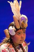 "Little Mayan Girl in Xcaret Performance, ""Mexico Espectacular"".  Playa del Carmen, Riviera Maya, Yucatan, Mexico."