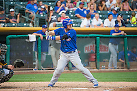 Chris Valaika (4) of the Iowa Cubs at bat against the Salt Lake Bees in Pacific Coast League action at Smith's Ballpark on August 21, 2015 in Salt Lake City, Utah. The Bees defeated the Cubs 12-8.  (Stephen Smith/Four Seam Images)