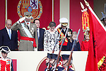 (L-R) King Felipe VI of Spain, Queen Letizia of Spain, Princess Leonor of Spain and Princess Sofia of Spain attend the National Day military parade. October 12 ,2016. (ALTERPHOTOS/Acero)