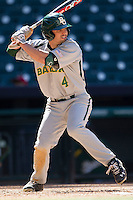 Baylor Bears outfielder Nathan Orf #4 at bat during the NCAA baseball game against the California Golden Bears on March 1st, 2013 at Minute Maid Park in Houston, Texas. Baylor defeated Cal 9-0. (Andrew Woolley/Four Seam Images).