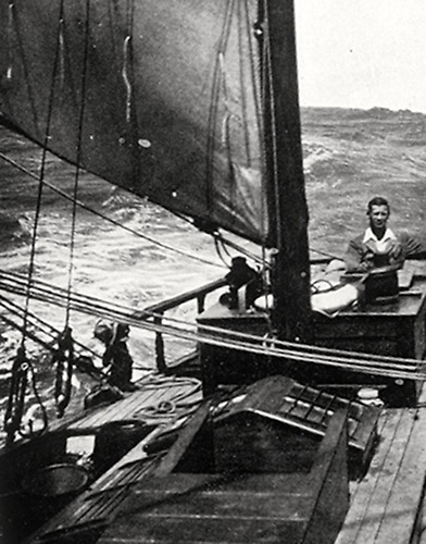 """Not fit to live on land……"" Conor O'Brien happy at the helm in a good breeze far at sea, and so sure of Saoirse's sea kindliness that he's dressed as though for a summer's day in Ireland"