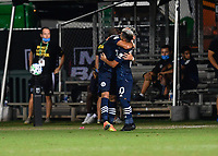 LAKE BUENA VISTA, FL - JULY 26: Valentín Castellanos of New York City FC celebrates his goal with Maximillano Moralez of New York City FC during a game between New York City FC and Toronto FC at ESPN Wide World of Sports on July 26, 2020 in Lake Buena Vista, Florida.