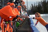 SPEED SKATING: COLLALBO: Arena Ritten, 12-01-2019, ISU European Speed Skating Championships, felicitaties voor Europees kampioen Antoinette de Jong (NED), ©photo Martin de Jong