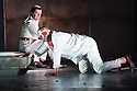 London, UK. 30.04.2014. English National Opera gives the world premiere of British composer Julian Anderson's first opera, THEBANS. Picture shows: Roland Wood (Oedipus) and Peter Hoare (Creon). Photograph © Jane Hobson.