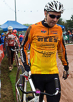 31 AUG 2015 - IPSWICH, GBR - Ben Mould of Wednesfield walks to the start of a heat during the British Cycle Speedway Championships at Whitton Sports and Community Centre in Ipswich, Suffolk, Great Britain (PHOTO COPYRIGHT © 2015 NIGEL FARROW, ALL RIGHTS RESERVED)