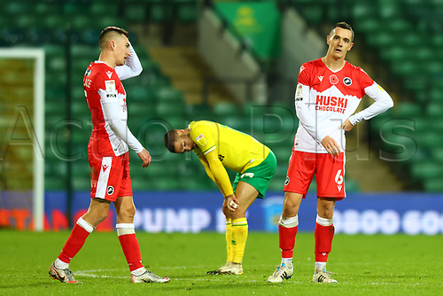 3rd November 2020; Carrow Road, Norwich, Norfolk, England, English Football League Championship Football, Norwich versus Millwall; A dejected Shaun Williams of Millwall after the 0-0 draw