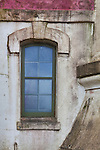Window in lighthouse tower.  North Head Lighthouse, Washington State.  Cape Disappointment.   Long Beach Peninsula, Washington State.  USA