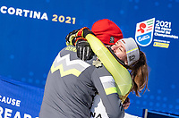 13th February 2021, Cortina, Italy; FIS World Championship Womens Downhill Skiing; Silver medal winner Kira Weidle of Germany celebrates
