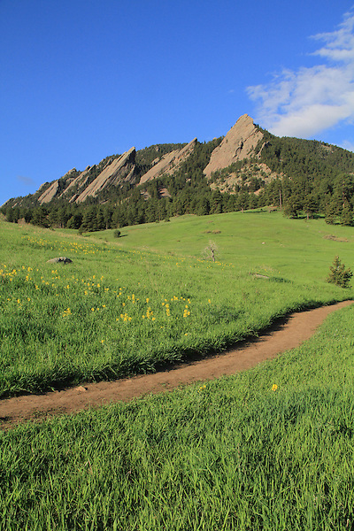 Hiking trail at Chautauqua Park, Flatirons rock formation, Boulder, Colorado, .  John leads private photo tours in Boulder and throughout Colorado. Year-round. .  John leads private photo tours in Boulder and throughout Colorado. Year-round Colorado photo tours.