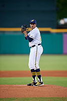 Montgomery Biscuits starting pitcher Yonny Chirinos (25) gets ready to deliver a pitch during a game against the Mississippi Braves on April 26, 2017 at Montgomery Riverwalk Stadium in Montgomery, Alabama.  Montgomery defeated Mississippi 5-2.  (Mike Janes/Four Seam Images)