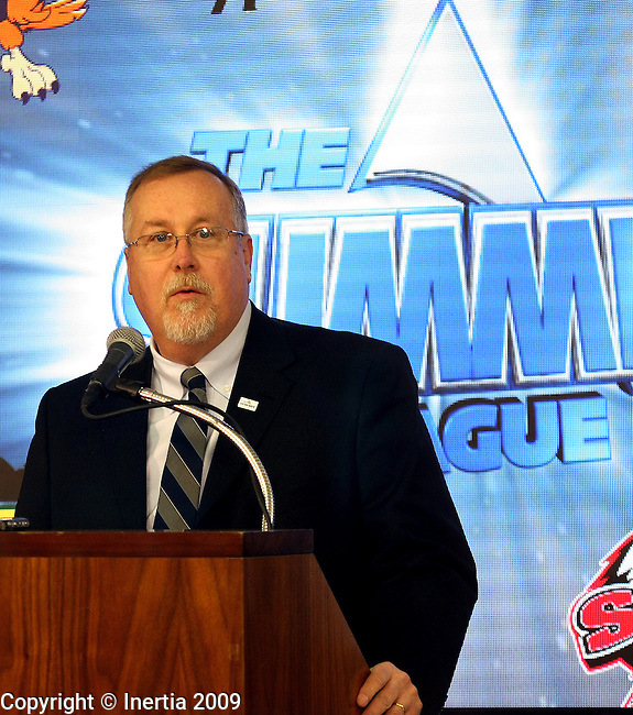 SIOUX FALLS, SD - MARCH 5:  The Summit League Commissioner Tom Douple addresses the media during the pre tournament press conference Thursday at the Sioux Falls Arena. (Photo by Dave Eggen/Inertia)