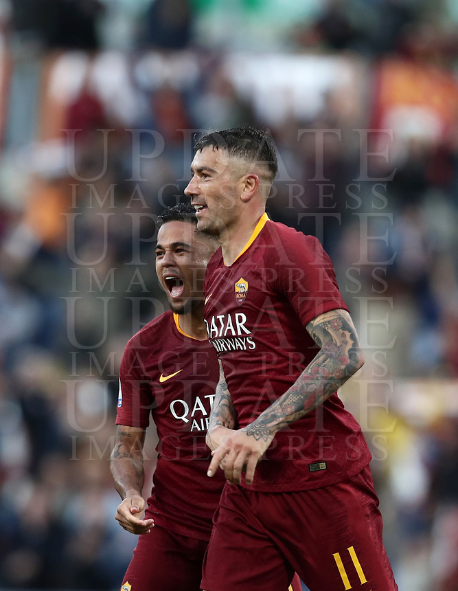 Football, Serie A: AS Roma - Cagliari, Olympic stadium, Rome, April 27, 2019. <br /> Roma's Aleksandar Kolarov (r) celebrates after scoring with his teammate Justin Kluivert (l) during the Italian Serie A football match between AS Roma and Cagliari, on April 27, 2019. <br /> UPDATE IMAGES PRESS/Isabella Bonotto