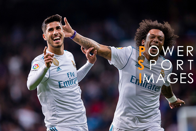 Marco Asensio Willemsen of Real Madrid (L) celebrates after scoring his goal with Marcelo Vieira Da Silva of Real Madrid (R) during the La Liga 2017-18 match between Real Madrid and UD Las Palmas at Estadio Santiago Bernabeu on November 05 2017 in Madrid, Spain. Photo by Diego Gonzalez / Power Sport Images