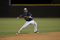 AZL Padres 2 shortstop Tucupita Marcano (1) makes a bare-handed play during an Arizona League game against the AZL Padres 1 at Peoria Sports Complex on July 14, 2018 in Peoria, Arizona. The AZL Padres 1 defeated the AZL Padres 2 4-0. (Zachary Lucy/Four Seam Images)