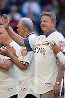 Former Houston Astros player and manager Larry Dierker waves to the crowd on Turn Back the Clock Nite. Game played on Saturday April 10th, 2010 at Minute Maid Park in Houston, Texas.  (Photo by Andrew Woolley / Four Seam Images)