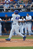 Austin Langworthy (44) of the Florida Gators follows through on his swing against the Wake Forest Demon Deacons in Game Two of the Gainesville Super Regional of the 2017 College World Series at Alfred McKethan Stadium at Perry Field on June 11, 2017 in Gainesville, Florida.  (Brian Westerholt/Four Seam Images)