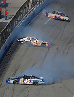 Feb 7, 2009; Daytona Beach, FL, USA; ARCA RE/MAX Series drivers Nur Ali (45) Bill Baird (52) and Peyton Sellers (47) crash during the Lucas Oil Slick Mist 200 at Daytona International Speedway. Mandatory Credit: Mark J. Rebilas-