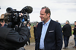 Tour Director Christian Prudhomme ASO talks to the media during the reconaissance of the pave sectors before the 2018 Paris-Roubaix. 3rd April 2018.<br /> Picture: ASO/P.Ballet | Cyclefile<br /> <br /> <br /> All photos usage must carry mandatory copyright credit (© Cyclefile | ASO/Pauline Ballet)