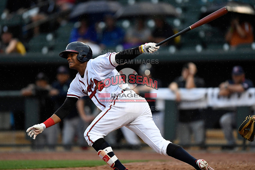 Cristian Pache (25) of the Rome Braves on the South team bats at the South Atlantic League All-Star Game on Tuesday, June 20, 2017, at Spirit Communications Park in Columbia, South Carolina. The game was suspended due to rain after seven innings tied, 3-3. (Tom Priddy/Four Seam Images)